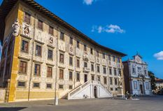 Amazing mansion at Cavalieri Square in Pisa - The Carovana Palace called Scuola Normale Superiore University - Tuscany stock photo