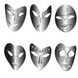 Amazing masks. Set of theatrical masks cute fantasy masks for any mood or expression of feelings Stock Photography