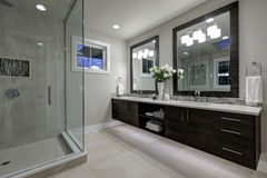 Amazing master bathroom with large glass walk-in shower Stock Photography