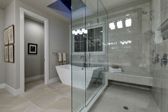 Amazing master bathroom with large glass walk-in shower Royalty Free Stock Photography