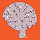 Amazing Maze Brain. Illustration of an intriguing mind puzzle in the form of a brain shaped maze Royalty Free Stock Images