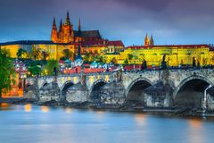 Amazing medieval stone Charles bridge and castle Prague, Czech Republic Royalty Free Stock Photo