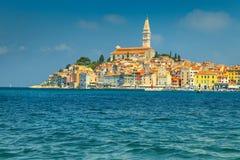 Wonderful peninsula with picturesque Rovinj old town, Istria region, Croatia. Amazing mediterranean touristic town and romantic place, Rovinj, Istria, Croatia royalty free stock images