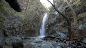 Amazing Millomeris Waterfalls in Cyprus in spring day. Static shot stock footage