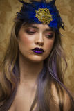Amazing model  with blue lips Stock Photo