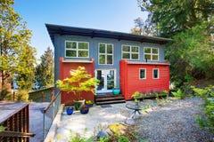Amazing modern house exterior. View of concrete patio area. Royalty Free Stock Photos