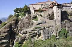 Great Meteor Monastery from Meteora of Kalambaka in Greece. Amazing Monastery Great Meteor over the rocks from Meteora of Kalambaka in Greece on august 2017 royalty free stock images