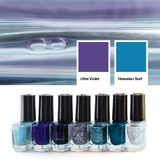 Collage of photos trendy color of the year 2018 ultra violet attitudes with blue Hawaiian Surf . Glass bottles of nail polish i. Amazing monochrome photo collage Royalty Free Stock Photography