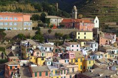 Amazing morning aerial view of Vernazza village. Ancient colorful buildings between mountains and the sea. Famous touristic place and travel destination in royalty free stock photography