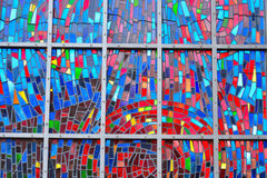 Amazing mosaique glass in lead window Royalty Free Stock Images