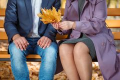 An amazing mother with handsome adult with autumn leaves in autumn park. Family spending time together outdoor. Stock Photo