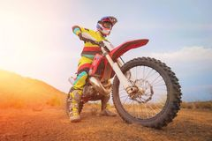Amazing Motocross rider royalty free stock images