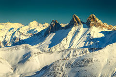 Amazing mounatin peaks,Aiguilles D`Arves,Les Sybelles,France. Stunning winter landscape and snowy peaks,Aiguilles D`arves,Les Sybelles,France Royalty Free Stock Images