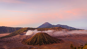 Amazing Mount Bromo During Sunrise Moment Stock Photos