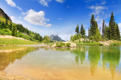 Amazing mountain lake with bright green color Royalty Free Stock Photography