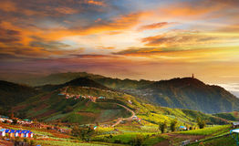 Amazing mountain landscape with beautiful sunset sky in thailand.  Royalty Free Stock Images
