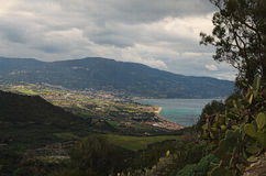 Amazing mountain landscape. Cloudy day. View from sightseeing area near Sanctuary of the Madonna di Tindari. Tindari. Sicily Stock Photography