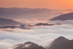 Amazing mountain landscape with dense fog. Stock Image
