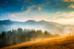Amazing mountain landscape with fog. And a haystack Stock Images