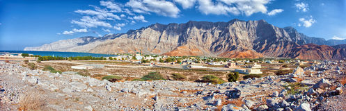Amazing mountain scenery in Bukha, Musandam peninsula, Oman. Royalty Free Stock Image