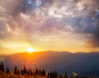 Amazing mountain sunset royalty free stock photography