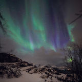 Amazing multicolored green Aurora Borealis also know as Northern Lights in the night sky over Lofoten landscape, Norway, Scandinav. Ia Stock Photo