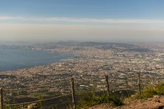 Amazing Naples landscape view seen from Vesuvius Mountain with fence royalty free stock photography