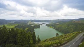 Amazing natural landscape with Sete Cidades lake, Sao Miguel island, Azores, Portugal stock video