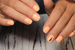 Amazing natural nails. Women& x27;s hands with clean manicure. Gel polish applied. royalty free stock photos