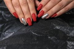 Amazing natural nails. Women& x27;s hands with clean manicure royalty free stock image