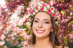 Amazing natural spring beauty. Outdoors portrait of an amazing natural spring beauty royalty free stock photography