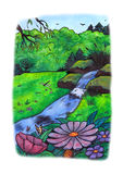 Amazing Nature (2009). An illustration of an awesome nature landscape with a small river, flowers, a dragonfly and two butterflies close to a forest stock illustration