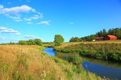 nature landscape with a view of small river stock photography
