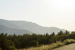 Amazing nature. Mountains in sunset, field nature Royalty Free Stock Photo
