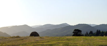 Amazing nature. Mountains in sunset, field nature Stock Photo