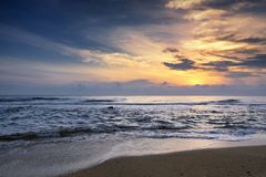 Amazing nature seascape background with beautiful color of sunrise, Soft focus due to long exposure. stock images