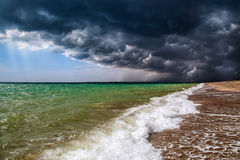 Amazing nature. The storm in the sea. The border between cloudy. Sky and blue sky. Storm is coming Royalty Free Stock Images