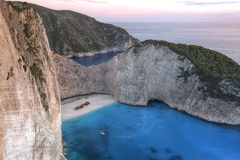 Amazing Navagio beach at sunset, Zakynthos Stock Photo