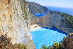 Amazing Navagio Beach in Zakynthos Island Stock Images