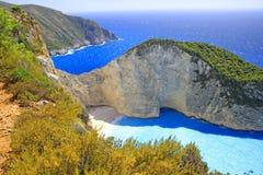 Amazing Navagio Beach in Zakynthos Island Stock Photography