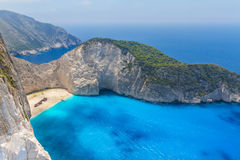 Amazing Navagio Beach in Zakynthos Island, Greece Stock Images