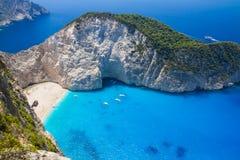 Amazing Navagio Beach in Zakynthos Island, Greece Royalty Free Stock Image