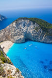 Amazing Navagio Beach in Zakynthos Island, Greece. Zakynthos Greece. Vacation and Tourism concept. Most popular bay in the world. Famous place. Travel background Royalty Free Stock Photos