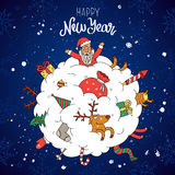 Amazing New Year and Christmas illustration. Amazing Christmas illustration. The trend calligraphy. Snowball, which placed Santa, reindeer, gifts and toys Royalty Free Stock Image