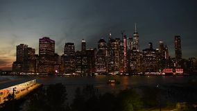 Amazing New York City Manhattan skyline panorama view over Hudson River stock video footage