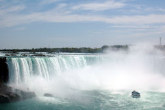 Amazing Niagra falls and a ship. A ship excursion to the falls stock image