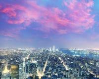 Amazing night aerial skyline of Manhattan, New York City - USA Stock Photography