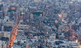 Amazing night aerial skyline of Manhattan, New York City - USA Royalty Free Stock Photo