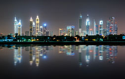 Amazing night dubai downtown skyline, Dubai, United Arab Emirates Royalty Free Stock Images