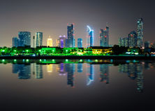 Amazing night dubai downtown skyline, Dubai, United Arab Emirates Royalty Free Stock Photography